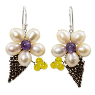 Handcrafted Pearl 'Petals' Multi-gemstone Earrings (8 mm) (Thailand)