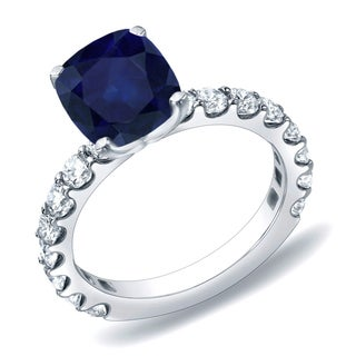 Auriya 14k Gold 1ct Blue Sapphire and 1ct TDW Diamond Engagement Ring (H-I, SI1-SI2)