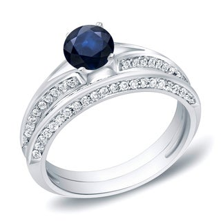 Auriya 14k Gold 3/5ct Blue Sapphire and 2/5ct TDW Round Diamond Bridal Ring Set (H-I, SI1-SI2)