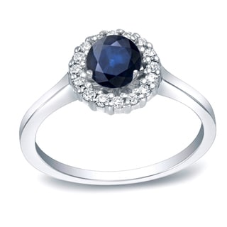Auriya 14k Gold 1/2ct Blue Sapphire and 1/4ct Round Diamond Halo Engagement Ring (H-I, SI1-SI2)