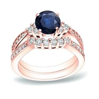 Auriya 14k Gold 3/4ct Blue Sapphire and 3/5ct TDW Round Cut Diamond Bridal Ring Set (H-I, SI1-SI2)