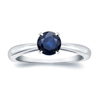 Auriya 14k Gold 1/2ct Round Blue Sapphire Gemstone Solitaire Engagement Ring