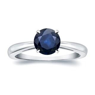 Auriya 14k Gold 1 1/2ct Round Blue Sapphire Gemstone Solitaire Engagement Ring