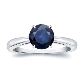 Auriya 14k Gold 2ct Round Blue Sapphire Gemstone Solitaire Engagement Ring