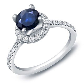 Auriya 14k Gold 1ct Blue Sapphire and 1/2ct TDW Round Diamond Halo Engagement Ring (H-I, SI1-SI2)
