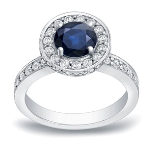 Auriya 14k Gold 1ct Blue Sapphire and 3/4ct TDW Round Diamond Halo Engagement Ring (H-I, SI1-SI2)