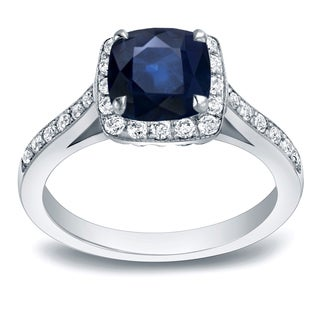 Auriya 14k Gold 1 3/5ct Blue Sapphire and 2/5ct TDW Diamond Engagement Ring (H-I, SI1-SI2)