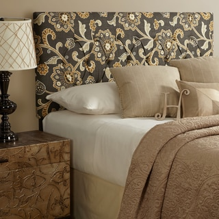 Humble + Haute Halifax King Size Grey Floral Upholstered Headboard