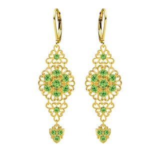 Lucia Costin Goldtone Sterling Silver Light Green Crystal Earrings