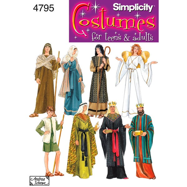 Simplicity Misses,men Or Teen Nativity Costumes-XS,S,M,L,XL