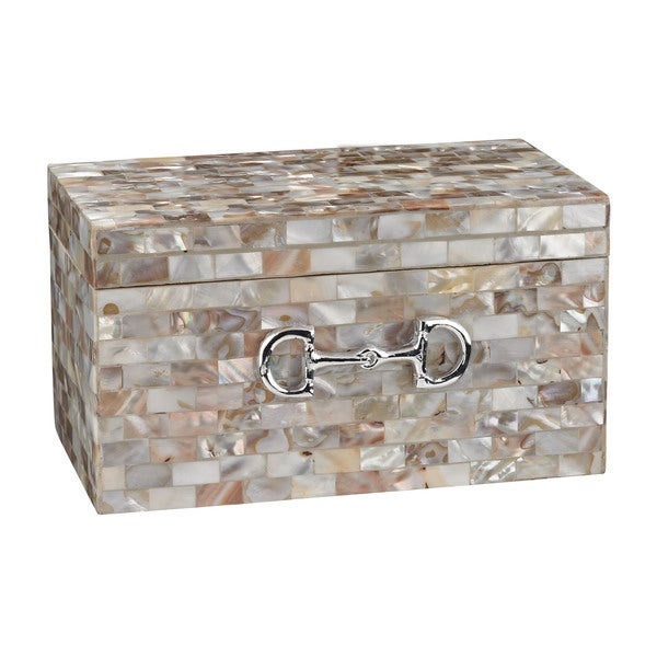 Sterling Mother Of Pearl Box With Snaffle Bit Accent