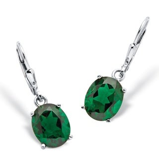 PalmBeach Color Fun Sterling Silver Oval-cut Mount St. Helens-Inspired Green Crystal Earrings