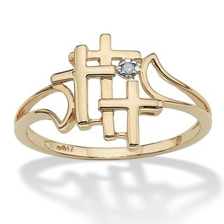 PalmBeach 10k Yellow Gold Diamond Accent Triple Cross Ring