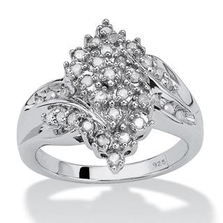 PalmBeach Platinum over Sterling Silver 3/8ct TDW Round Ice Diamond Cluster Swirl Ring