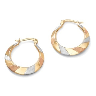 PalmBeach Tailored 10k Tri-tone Gold Flat Hoop Earrings