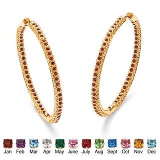 PalmBeach Color Fun 14k Yellow Goldplated Birthstone Inside-out Hoop Earrings