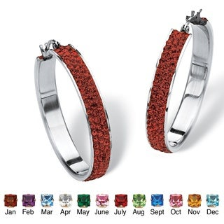 PalmBeach Color Fun Stainless Steel Pave Birthstone 40mm Hoop Earrings