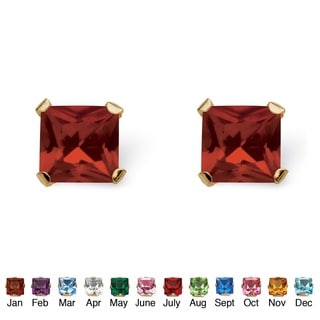 PalmBeach Color Fun 10k Yellow Gold Princess-cut Birthstone Martini Set Birthstone Stud Earrings