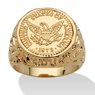 PalmBeach Men's 14k Goldplated American Eagle Coin Replica Nugget-Style Ring
