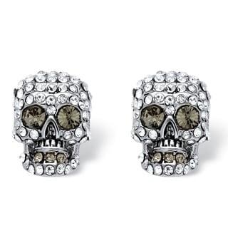 PalmBeach Bold Fashion Silvertone Pave Crystal Skull Stud Earrings
