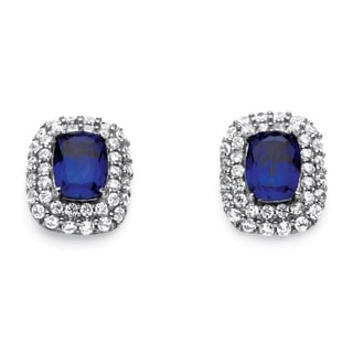 PalmBeach Glam CZ Platinum over Sterling Silver 4 1/6ct Emerald-cut Sapphire Double Halo Earrings