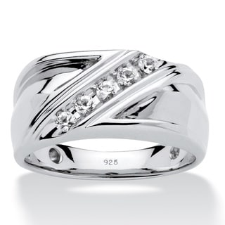 PalmBeach Platinum over Sterling Silver Men's Round Created White Sapphire Diagonal Band