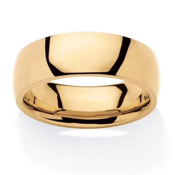 PalmBeach Gold Ion-plated Stainless Steel Men's Comfort Fit 7mm Wedding Band