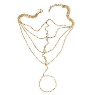 PalmBeach Color Fun 14k Yellow Gold over Sterling Silver Round Cubic Zirconia Hand Chain Multi-strand Bracelet