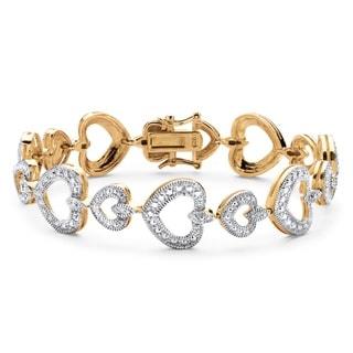 PalmBeach 14k Gold over Sterling Silver Diamond Accent Heart Link Bracelet