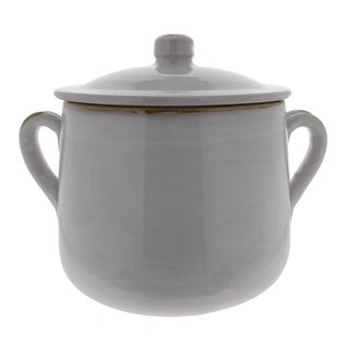 French Home 5.5-quart White Stoneware Stock Pot with Lid