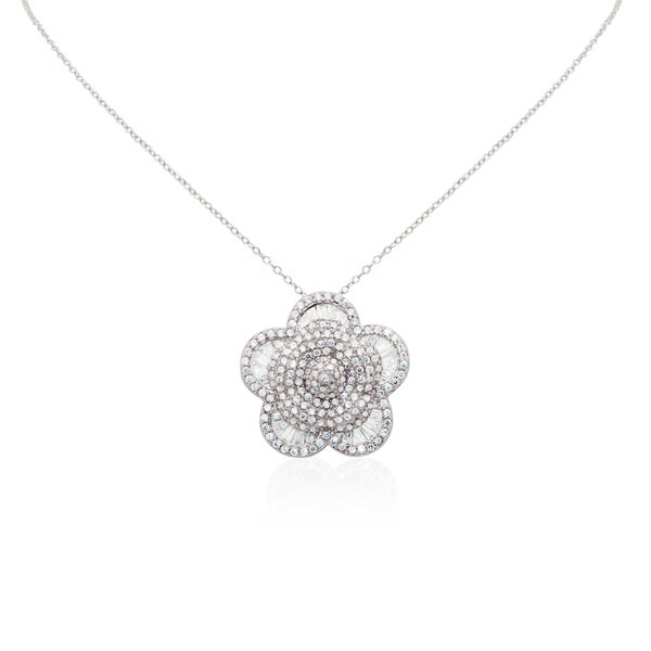 Gioelli Sterling Silver Pave Flower Blossom Cubic Zirconia Pendant Necklace
