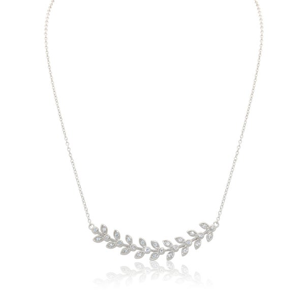 Gioelli Sterling Silver Cubic Zironia Leaf Necklace