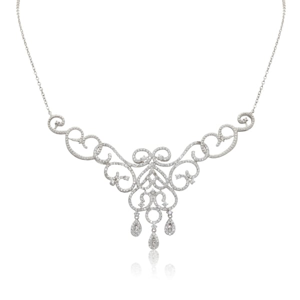 Gioelli Sterling Silver Cubic Zirconia Classic Tiara Dangle Necklace