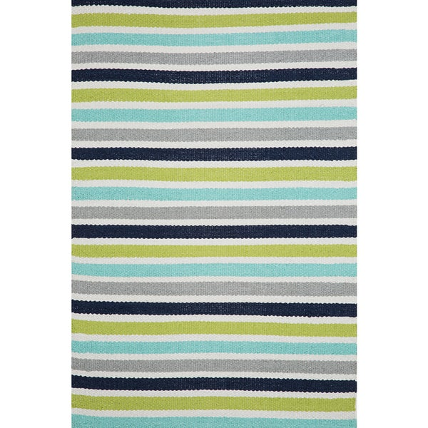 Apricot Home Ellis Lime Green Multistripe All-weather Rug (2 x 3)