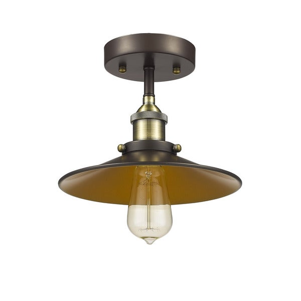 Chloe Lighting Loft Industrial 1 Light Oil Rubbed Bronze Semi Flush Mount
