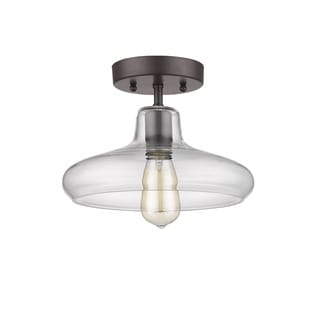 Chloe Lighting Loft/Industrial 1-light Oil Rubbed Bronze Semi Flush Mount
