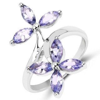 Olivia Leone Sterling Silver 1 3/4ct Genuine Tanzanite Floral Shape Ring