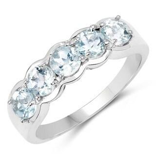 Olivia Leone Sterling Silver 1 1/4ct Genuine Aquamarine 5 Stone Ring