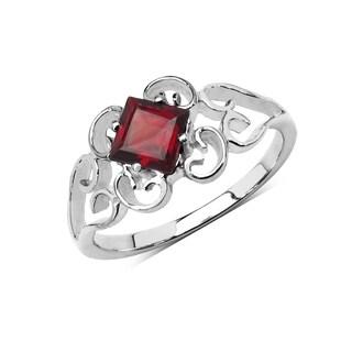 Olivia Leone Sterling Silver 3/4ct Genuine Garnet Solitaire Ring