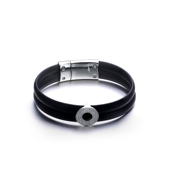 Rhodium-plated Sterling Silver Black Rubber Bracelet