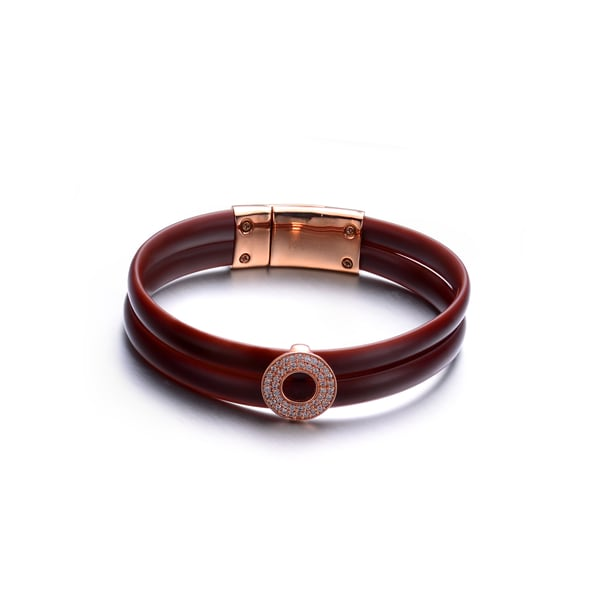 Rose-plated Sterling Silver Brown Rubber Bracelet