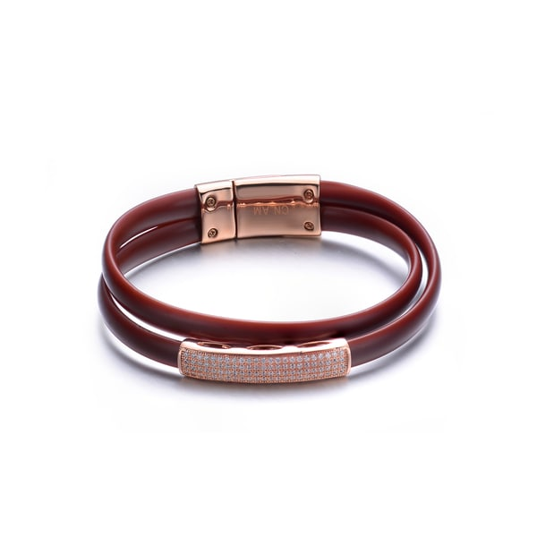 Rose-plated Sterling Silver Brown Leather Bracelet