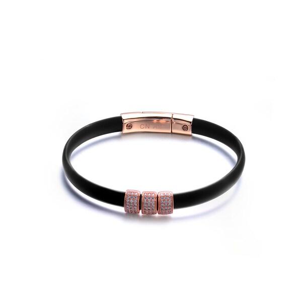 Rose-plated Sterling Silver Black Rubber Bracelet