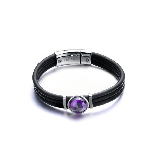 Rhodium-plated Sterling Silver Black Rubber Purple Cubic Zirconia Bracelet