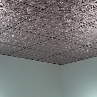Fasade Traditional Style #2 Crosshatch Silver 2-foot Square Lay-in Ceiling Tile