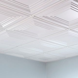 Fasade Traditional Style #3 Matte White 2-foot Square Lay-in Ceiling Tile