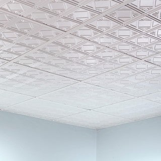 Fasade Traditional Style #4 Matte White 2-foot Square Lay-in Ceiling Tile