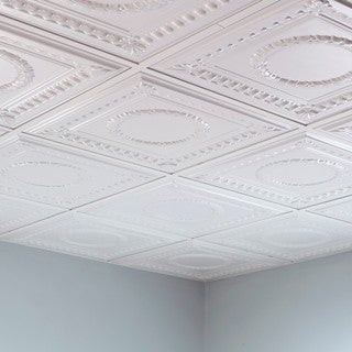 Fasade Rosette Gloss White 2-foot Square Lay-in Ceiling Tile
