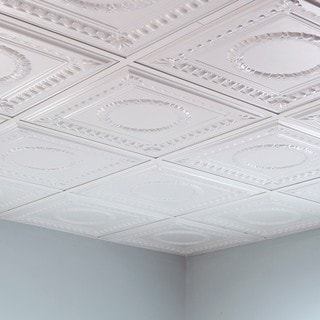 Fasade Rosette Matte White 2-foot Square Lay-in Ceiling Tile