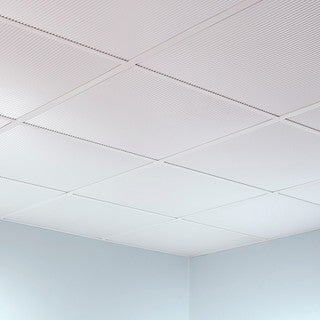 Fasade Rib Gloss White 2-foot Square Lay-in Ceiling Tile